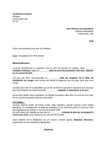 Lettre D Acceptaton De L Offre D Achat Après Notification Du