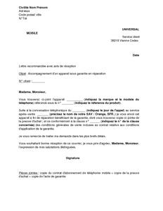 Lettre D 39 Accompagnement D 39 Un Appareil Sous Garantie