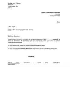 modele de lettre pour completer un dossier Exemple gratuit de Lettre accompagnement dossier auprès CAF modele de lettre pour completer un dossier