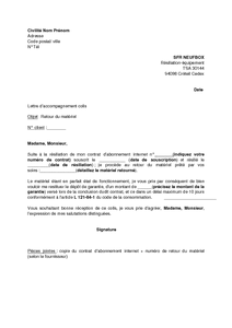 Exemple gratuit de lettre accompagnement retour mat riel for Location d un box
