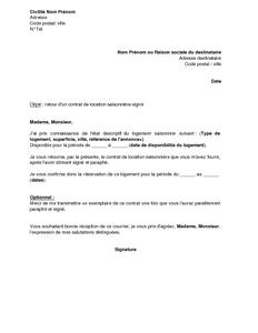 Lettre D Accompagnement Du Contrat De Location D Un Logement