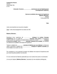 Exemple Gratuit De Lettre Accompagnement Dossier Validation