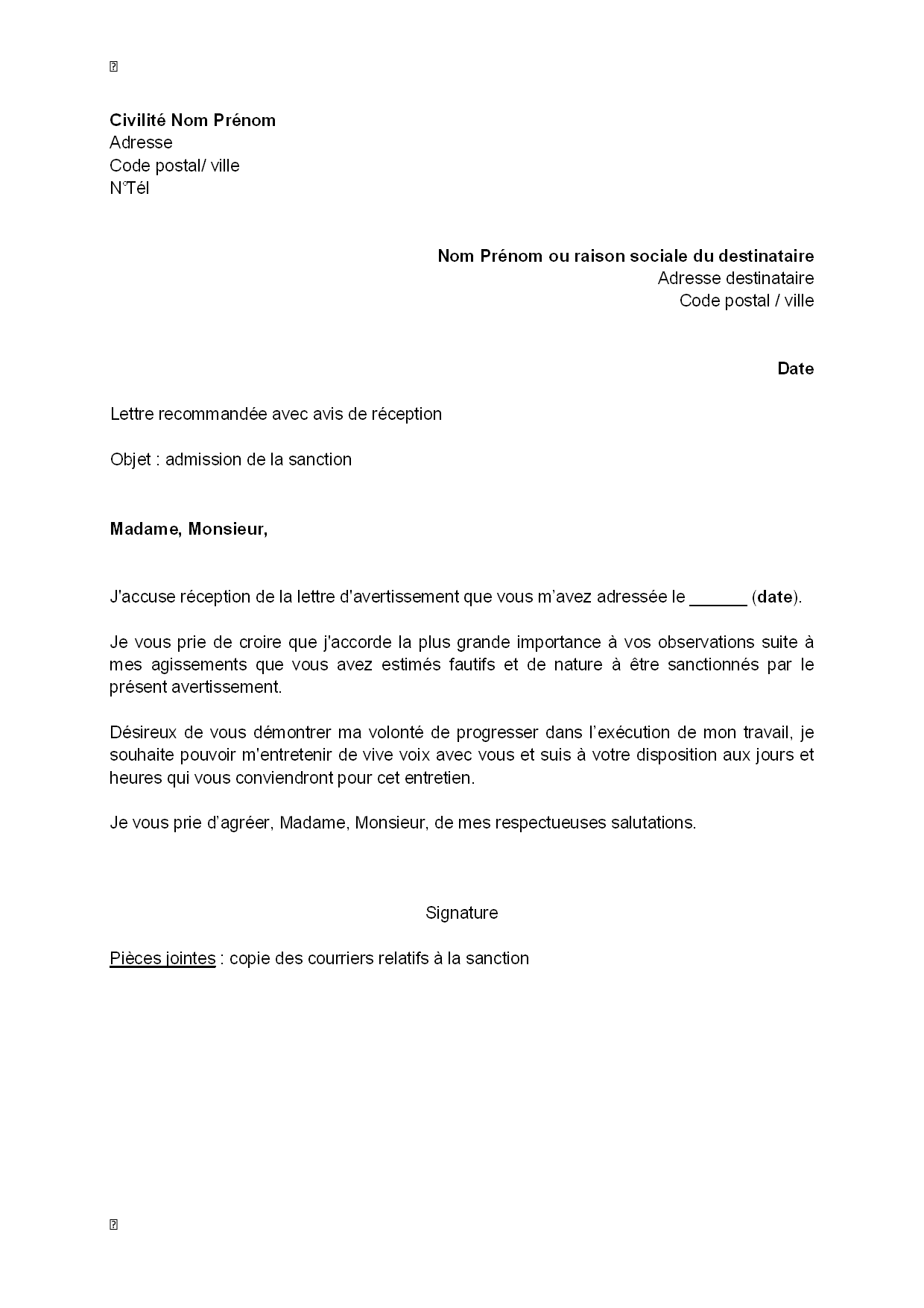 Pdf Exemple D Accuse De Reception D Une Lettre De Demission