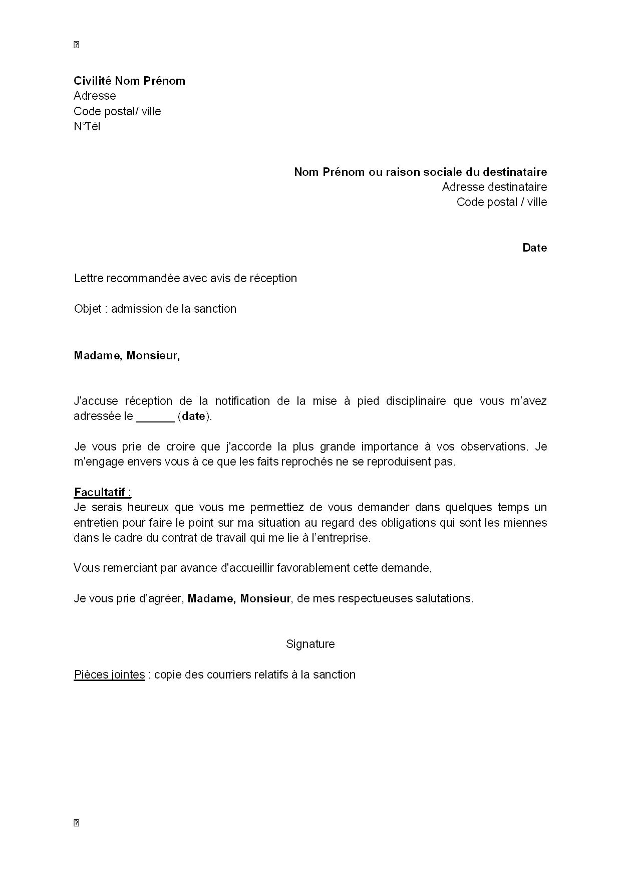 exemple gratuit de lettre accus u00e9 r u00e9ception mise  u00e0 pied disciplinaire   admission sanction