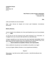 Lettre D Accuse De Reception De La Mise A Pied Disciplinaire