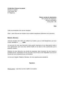 Lettre D Accusé De Réception De La Mutation Disciplinaire