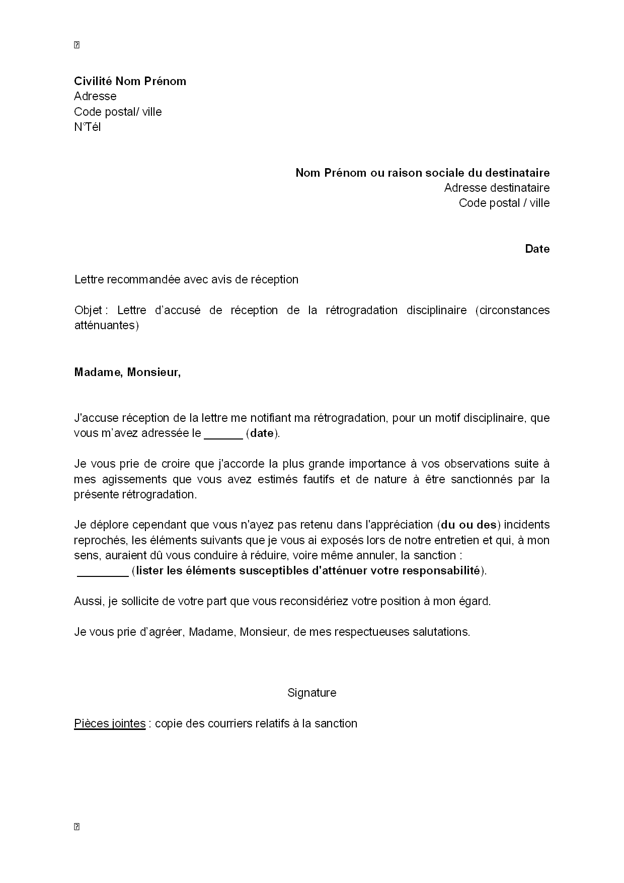 exemple gratuit de lettre accus u00e9 r u00e9ception r u00e9trogradation