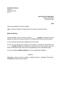 Lettre D Accuse De Reception Par L Employeur De La Prise D Acte De