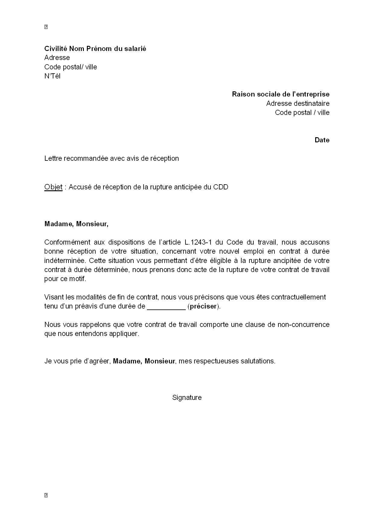 exemple gratuit de lettre accus u00e9 r u00e9ception  par employeur