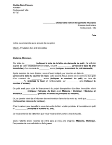 Exemple gratuit de lettre annulation un pr t immobilier suite renonciation - Documents pour pret immobilier ...