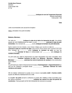Lettre d 39 annulation d 39 un pr t immobilier suite au refus d 39 un autr - Documents pret immobilier ...