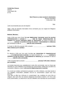 Modele de lettre annulation de commande contrat de - Annulation commande cuisine ...