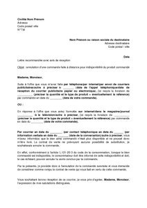 Lettre annulation commande for Annulation commande salon