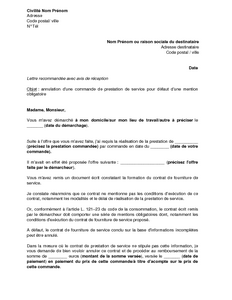 Exemple gratuit de Lettre annulation une prestation commandée