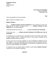 Exemple Gratuit De Lettre Annulation Demande Résiliation Bail