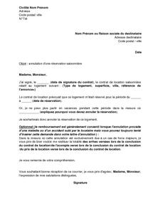 Exemple Gratuit De Lettre Annulation Reservation Un Logement Saisonnier Par Locataire