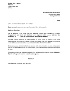 Lettre d 39 annulation de la vente immobili re suite au refus de cr dit et d - Document pret immobilier ...