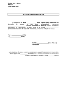 attestation de domicile exemple