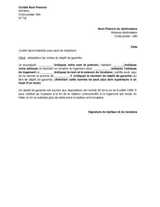 Exemple gratuit de Lettre attestation remise dépot garantie