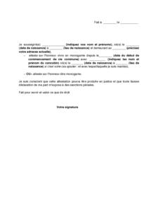 Lettre D Attestation Sur L Honneur De Monogamie Modele De Lettre