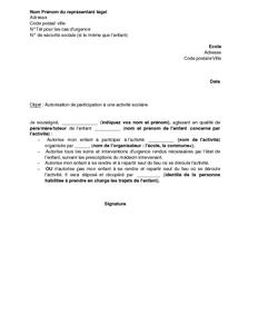 lettre autorisation sortie ecole