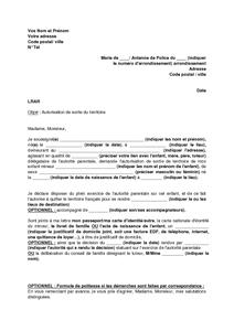 Lettre d 39 autorisation de sortie du territoire mod le de lettre gratuit exemple de lettre type - Avocat commis d office pour mineur ...