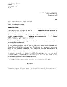 Lettre D Autorisation De Travaux Par Le Propriétaire Du