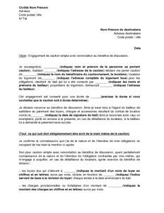Mod le de lettre d 39 engagement de caution pour le paiement - Acte de caution solidaire location meublee ...
