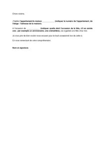 Exemple Gratuit De Lettre Excuses Aupres Voisins Suite A Fete Bruyante