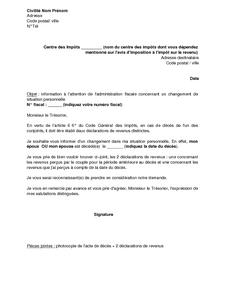 Exemple Gratuit De Lettre Information A Administration Fiscale Deces Un Epoux Calcul Impot Sur Revenu