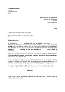 Lettre D Information D Un Accident De Trajet Par Le Salarié