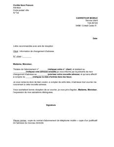 Lettre D Information De Changement D Adresse Carrefour