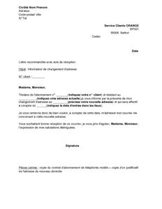 Exemple Gratuit De Lettre Information Changement Adresse Orange