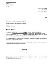 Exemple Gratuit De Lettre Information Changement Adresse Sfr