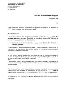 Exemple gratuit de lettre information organisation lections d l gu s personn - Comment voir si une entreprise est en redressement judiciaire ...