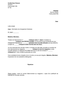 Lettre D Information Du Changement D Adresse De L Abonne D Un Journal Magazine Modele De Lettre Gratuit Exemple De Lettre Type Documentissime