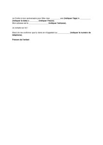 Lettre D Invitation A L Anniversaire D Un Enfant Modele De Lettre Gratuit Exemple De Lettre Type Documentissime