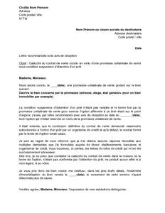 Exemple Gratuit De Lettre Caducite Contrat Vente Conclu En Vertu Une