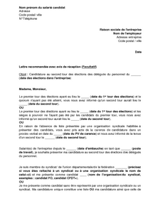 lettre candidature delegue du personnel