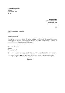 Exemple Gratuit De Lettre Changement Adresse Auprès Un Client