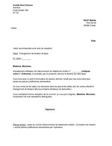 Exemple Gratuit De Lettre Changement Titulaire Ligne Telephonique Neuf Mobile