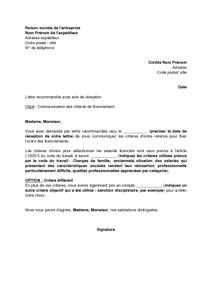 Lettre De Communication Des Criteres D Ordre D Un Licenciement