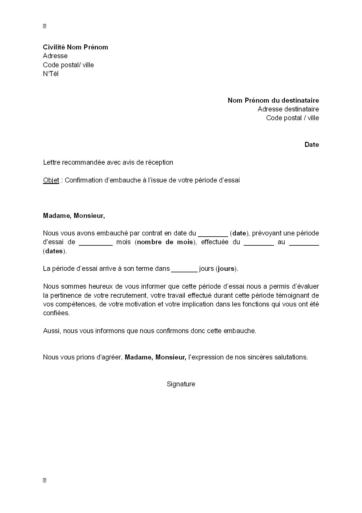 Lettre De Confirmation D Embauche Par L Employeur A L Issue