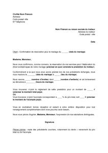 Exemple Gratuit De Lettre Confirmation Reservation Traiteur Mariage