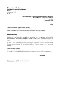 Exemple gratuit de lettre consultation comit entreprise for Exemple de reglement interieur entreprise