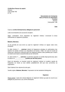 Disposition d une lettre for Exemple de reglement interieur entreprise