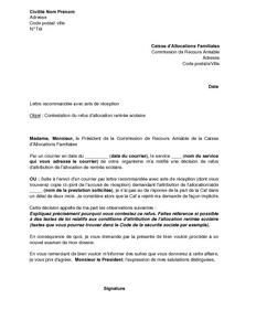 Lettre De Contestation Aupres De La Commission De Recours Amiable
