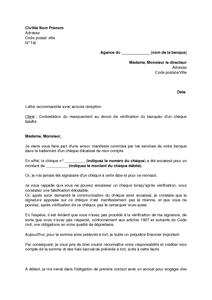 Exemple Gratuit De Lettre Contestation Un Cheque Falsifie Non
