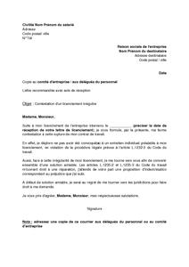 Lettre De Contestation D Un Licenciement Irregulier Et Demande D