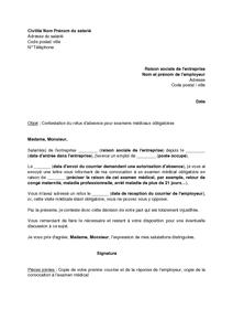 Lettre De Contestation D Un Refus D Absence Pour Des Examens Medicaux Obligatoires Modele De Lettre Gratuit Exemple De Lettre Type Documentissime